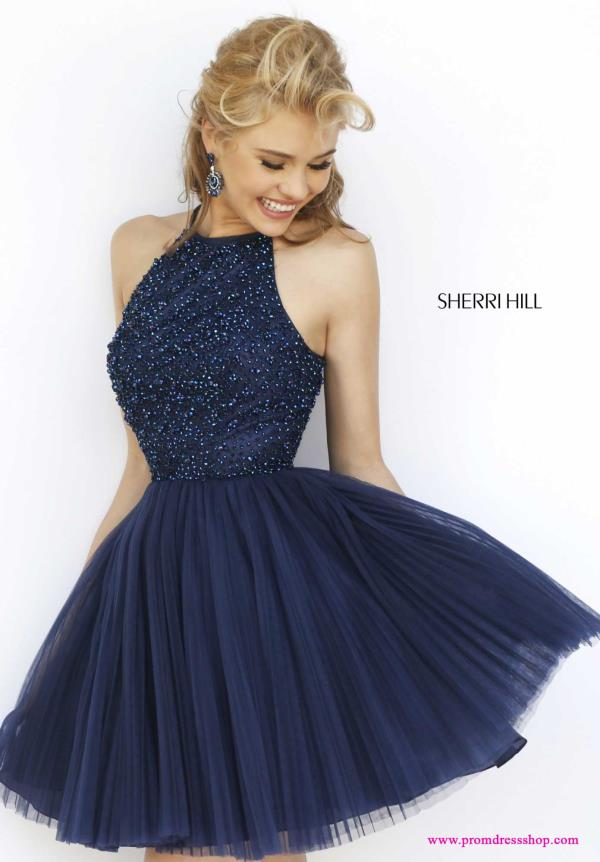Sherri Hill Short Beaded Navy A Line Dress 32335