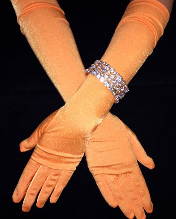 Vibrant Matte Orange Long Gloves