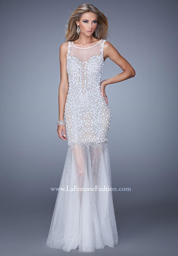 White Beaded Waist Evening Dresses By Gigi 20