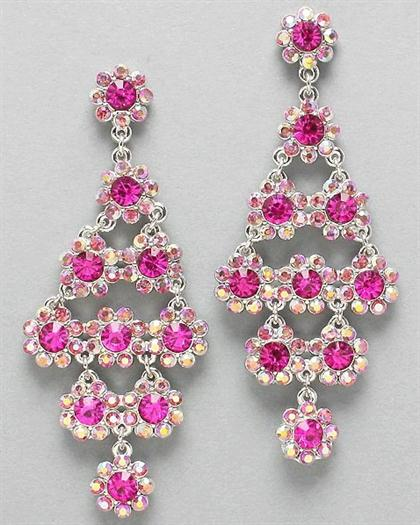 Floral Pink Rhinestone Earrings