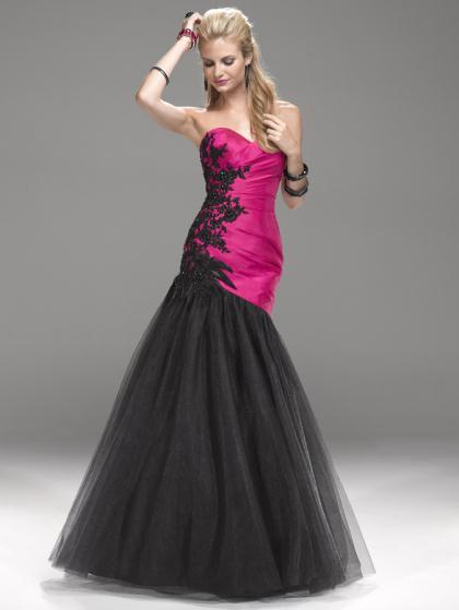 Black pink evening dress