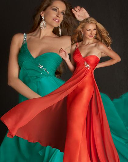 Flash 2012 One Shoulder Chiffon Prom Dress 4444L