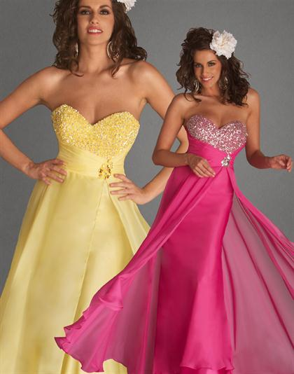 Strapless Chiffon Flash 2012 Prom Dress 4446L