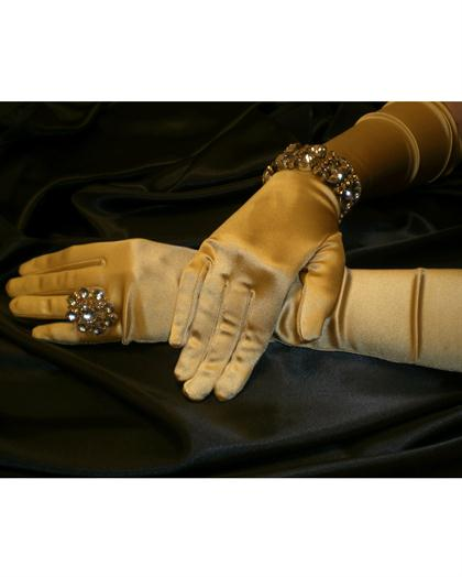 Satin Gold Gloves