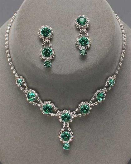 Drop Emerald Rhinestone Necklace Set