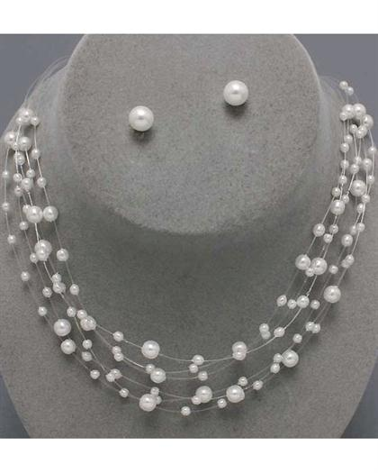White Pearl 6 Strand Necklace Set