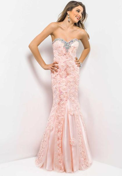 Strapless Blush Prom Dress 9582