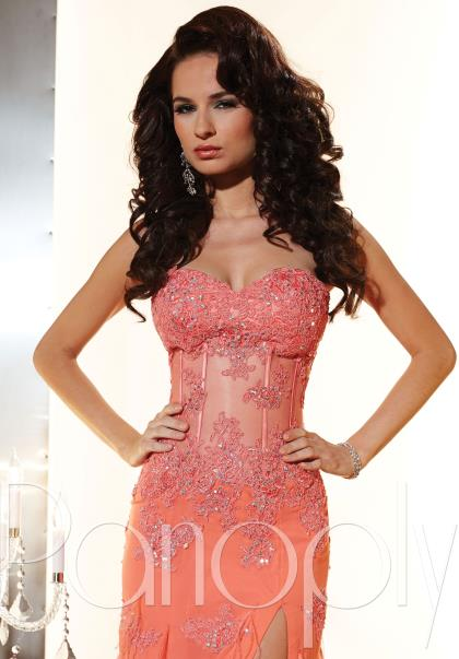 Coral sparkling jeweled bodice long flowing strapless prom dress
