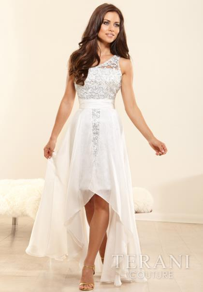2014 Terani White Flowy Prom Dress P3149