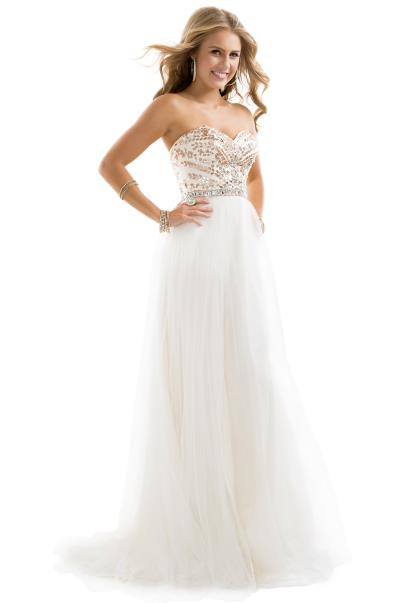 White And Gold Prom Dresses - Prom Stores