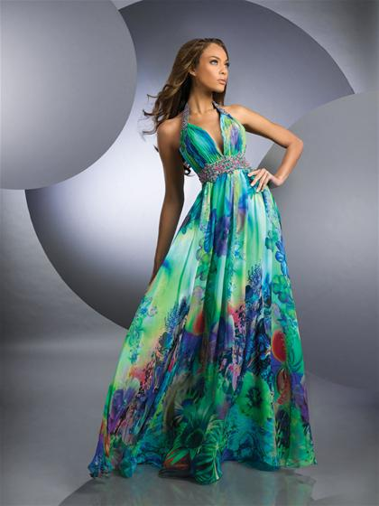 Printed Halter Prom Dress 59215 Shimmer 2012