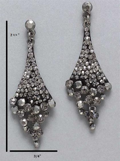 Waterfall Charcoal Rhinestone Earrings