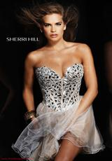 Sherri Hill Short 1403.  Available in Aqua/Silver, Black/Silver, Fuchsia, Gunmetal, Lilac/Silver, Lime/Silver, Nude/Silver, Yellow/Silver