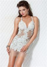 Jovani Cocktail 14338.  Available in Gold/Nude, Pink/Nude, Silver/Nude, White/Nude