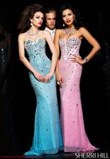 Sherri Hill 1435.  Available in Aqua/Silver, Black/Gunmetal, Gunmetal, Nude/Silver, Pink/Silver, White/Silver