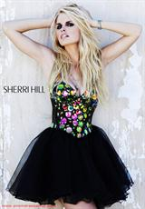 Sherri Hill Short 1477.  Available in Black/Multi, Nude/Multi