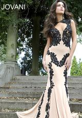 Jovani 89902.  Available in Black/White, Nude/Black, Nude/Blue, Nude/Red, Nude/Royal, Nude/White, Red/Black