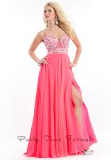 Party Time Dresses 6558.  Available in Neon Pink, Teal, White/Gold