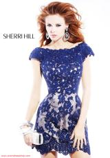 Sherri Hill Short 2941.  Available in Black/Nude, Ivory/Nude, Navy/Nude