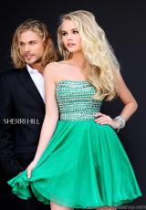 Sherri Hill Short 11028.  Available in Aqua, Black/Gunmetal, Coral, Emerald, Fuchsia, Ivory/Gold, Light Blue, Navy/Gunmetal, Nude, Orange, Pink, Purple, Red, Royal, Turquoise, Yellow