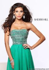 Sherri Hill 1539.  Available in Aqua, Black/Gunmetal, Emerald, Fuchsia, Ivory/Gold, Light Blue, Navy/Gunmetal, Nude, Orange, Pink, Purple, Red, Royal, Turquoise