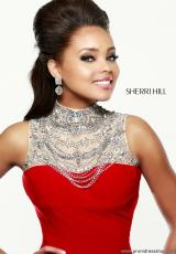 Sherri Hill 21355.  Available in Black/Silver, Nude/Silver, Red/Silver