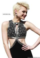 Sherri Hill 32001.  Available in Black/Silver, Ivory/Gold, Navy/Gunmetal