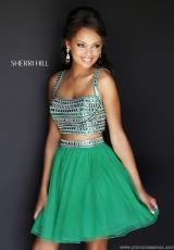 Sherri Hill Short 11060.  Available in Aqua, Emerald, Fuchsia, Ivory/Gold, Orange, Purple, Yellow