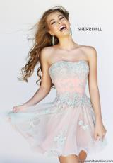 Sherri Hill Short 11062.  Available in Ivory/Nude, Nude/Peach, Pink/Peach