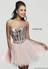 Sherri Hill Short 11131.  Available in Silver/Aqua, Silver/Lilac, Silver/Lt Green, Silver/Nude, Silver/Peach, Silver/Pink, Silver/Yellow