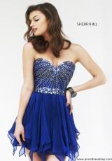 Sherri Hill Short 1931.  Available in Black/Gunmetal, Royal/Gunmetal, Ruby/Gunmetal, Teal/Gunmetal