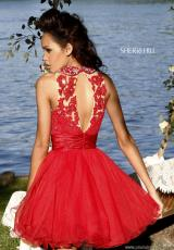 Sherri Hill Short 21227.  Available in Aqua, Black, Ivory/Nude, Light Green, Pink/Nude, Red