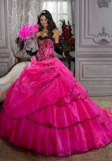 Tiffany Quinceanera 26676.  Available in Fuchsia/Black, White/Black