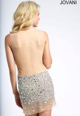 Jovani Cocktail 99157.  Available in Silver/Nude