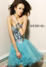 Sherri Hill Short 1530.  Available in Black/Multi, Nude/Multi, Purple/Multi, Turquoise/Multi