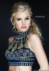 Sherri Hill 11068.  Available in Aqua/Multi, Black/Multi, Coral/Multi, Ivory/Multi, Red/Multi, Royal/Multi