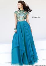 Sherri Hill 1933.  Available in Bronze, Lilac, Navy, Peacock, Ruby, Teal
