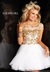 Sherri Hill Short 21032.  Available in Ivory/Gold, Light Blue/Silver, Navy/Nude, Pink/Silver, Plum/Nude