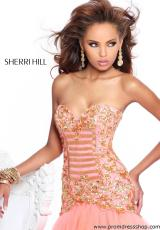 Sherri Hill 2983.  Available in Black/Gold, Coral/Gold, Ivory/Gold