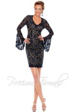 Precious Formals L54005.  Available in Dark Teal/Nude, Navy/Nude