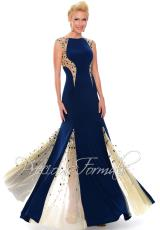 Precious Formals P38002.  Available in Blk/Nude, Deep Marine Blue/Nude