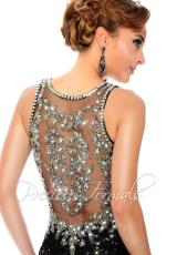 Precious Formals P9125.  Available in Black/Silver, Navy/Nude, Nude Crystal, Pewter/Nude