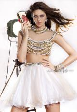 Alyce Short 2467.  Available in Diamond White Solid, Pearl/Gold