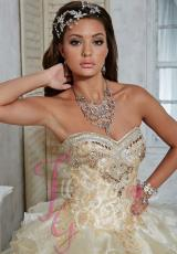 Tiffany Quinceanera 56261.  Available in Ivory/Gold, Pink/White, White/White