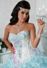 Tiffany Quinceanera 56268.  Available in Ivory/Coral, Ivory/Turquoise, White/White