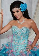 Tiffany Quinceanera 56272.  Available in Ivory/Pink, Turquoise/Coral, White