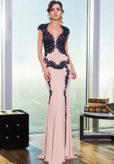 Jovani 25635.  Available in Black/White, Nude/Black, Nude/Blue, Nude/Navy