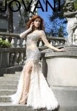 Jovani 73073.  Available in Nude/Silver