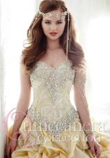 Tiffany Quinceanera 26810.  Available in Gold/Ivory , Teal/Cobalt