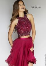 Sherri Hill Short 11290.  Available in Burgundy, Copper, Royal, Ruby, Silver